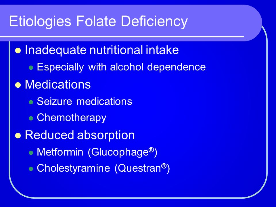 Etiologies Folate Deficiency
