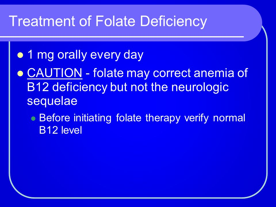 Treatment of Folate Deficiency
