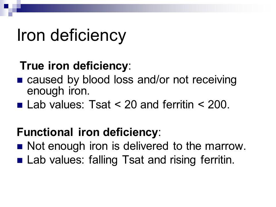 Iron deficiency True iron deficiency: