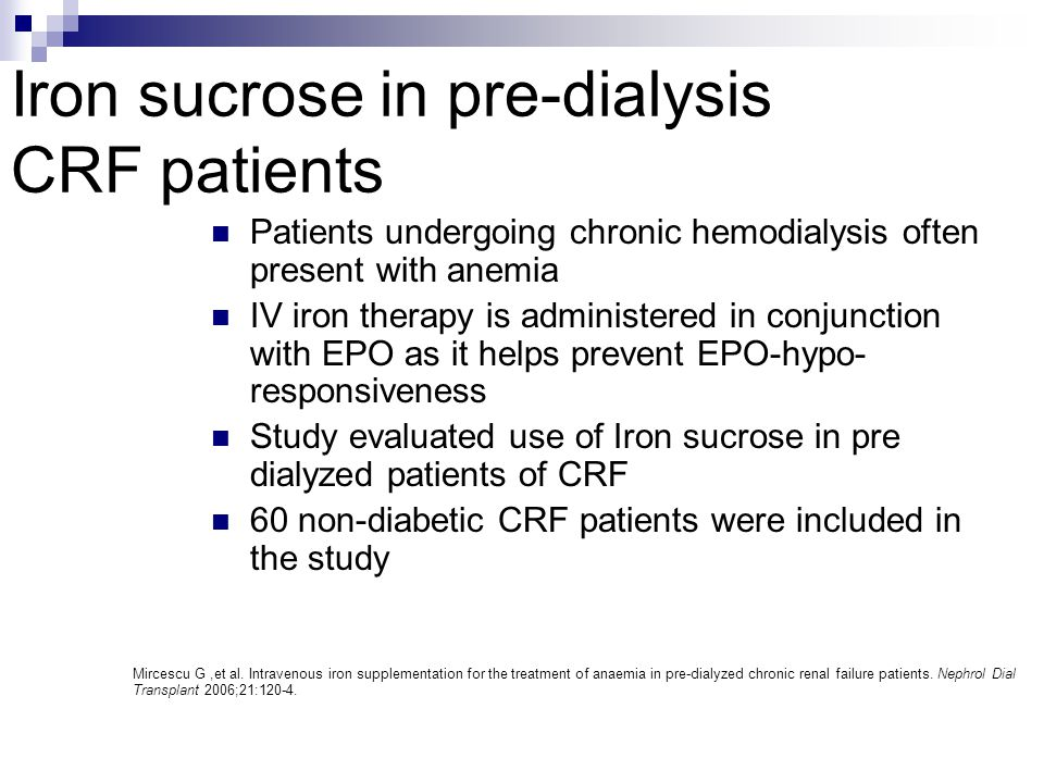Iron sucrose in pre-dialysis CRF patients