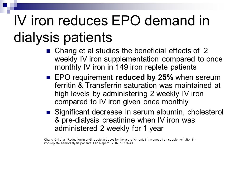 IV iron reduces EPO demand in dialysis patients