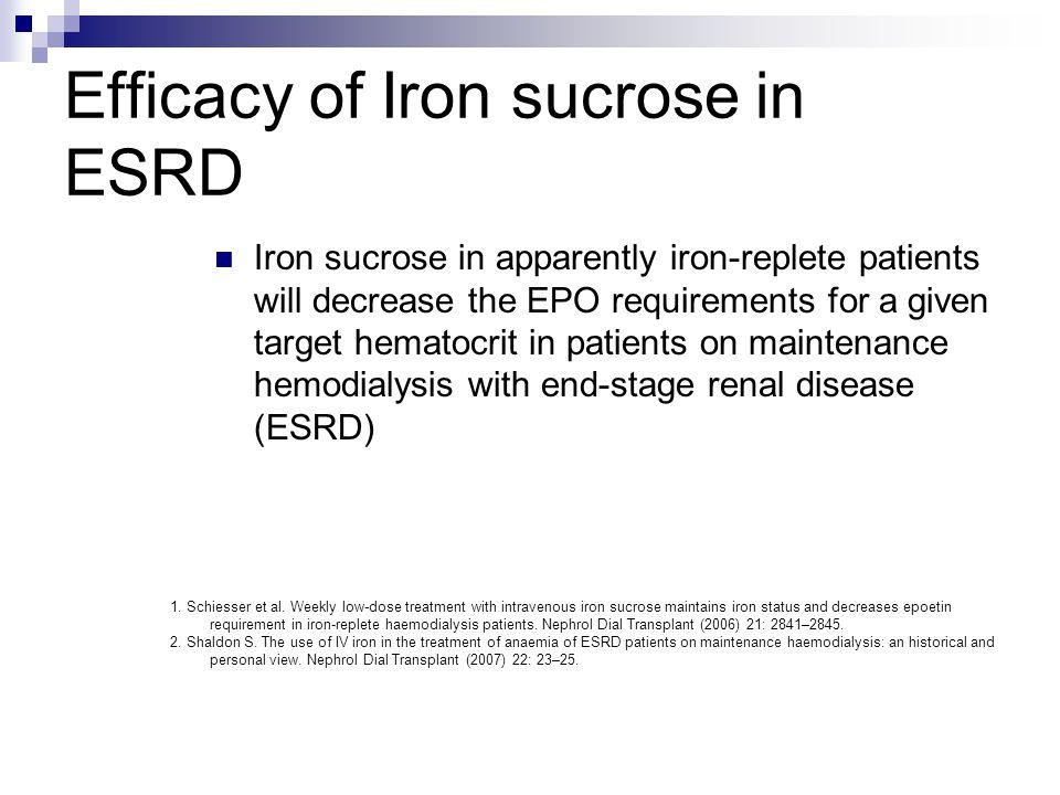 Efficacy of Iron sucrose in ESRD