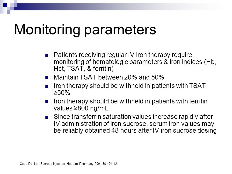 Monitoring parameters