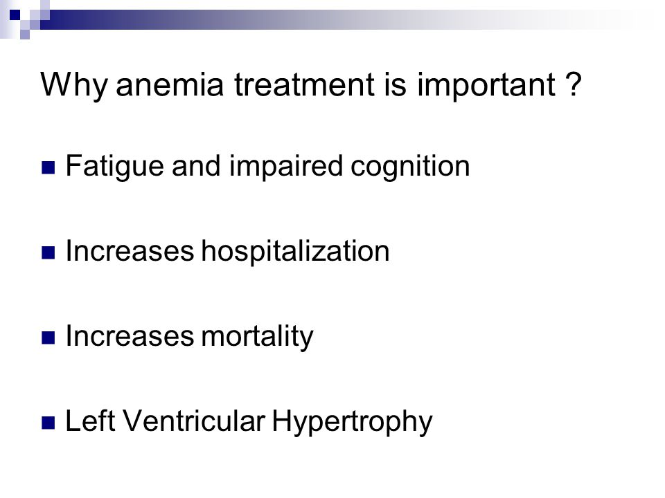 Why anemia treatment is important