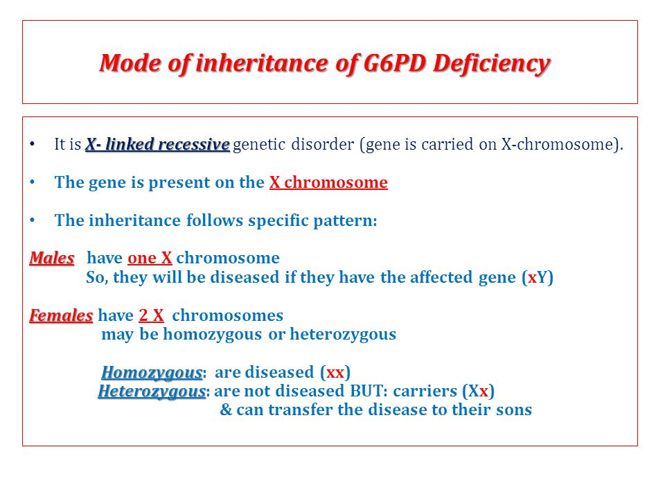 Mode of inheritance of G6PD Deficiency