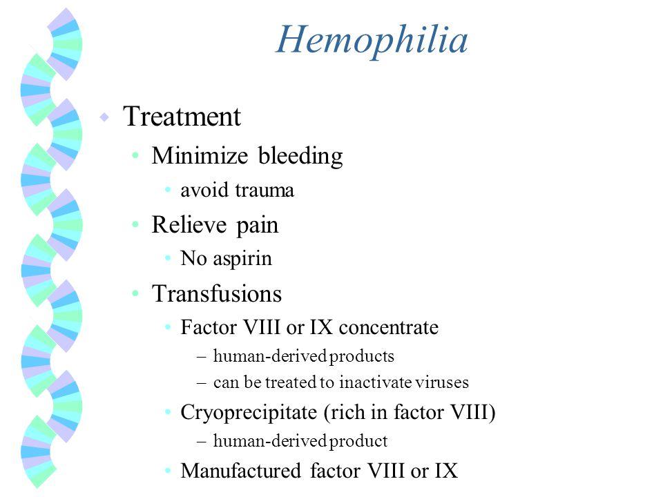 Hemophilia Treatment Minimize bleeding Relieve pain Transfusions