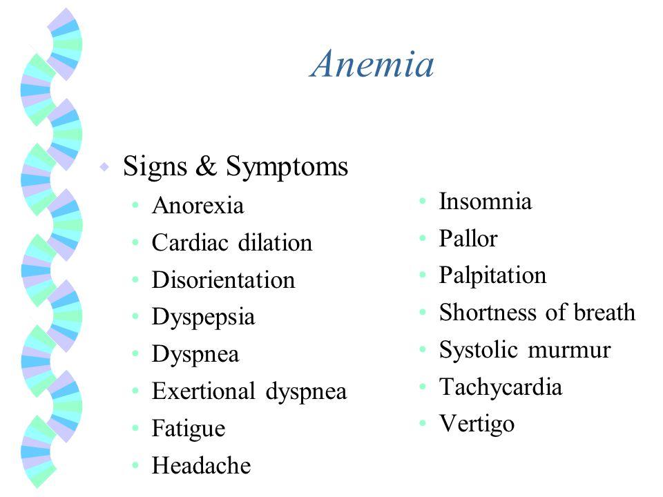 Anemia Signs & Symptoms Insomnia Anorexia Cardiac dilation Pallor