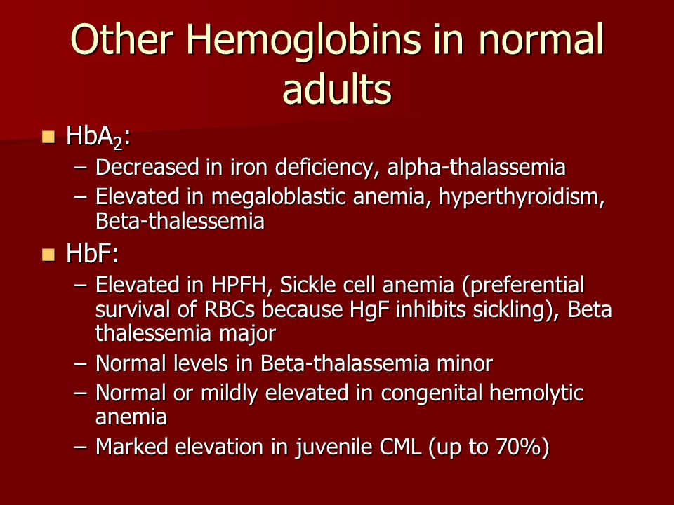 Other Hemoglobins in normal adults