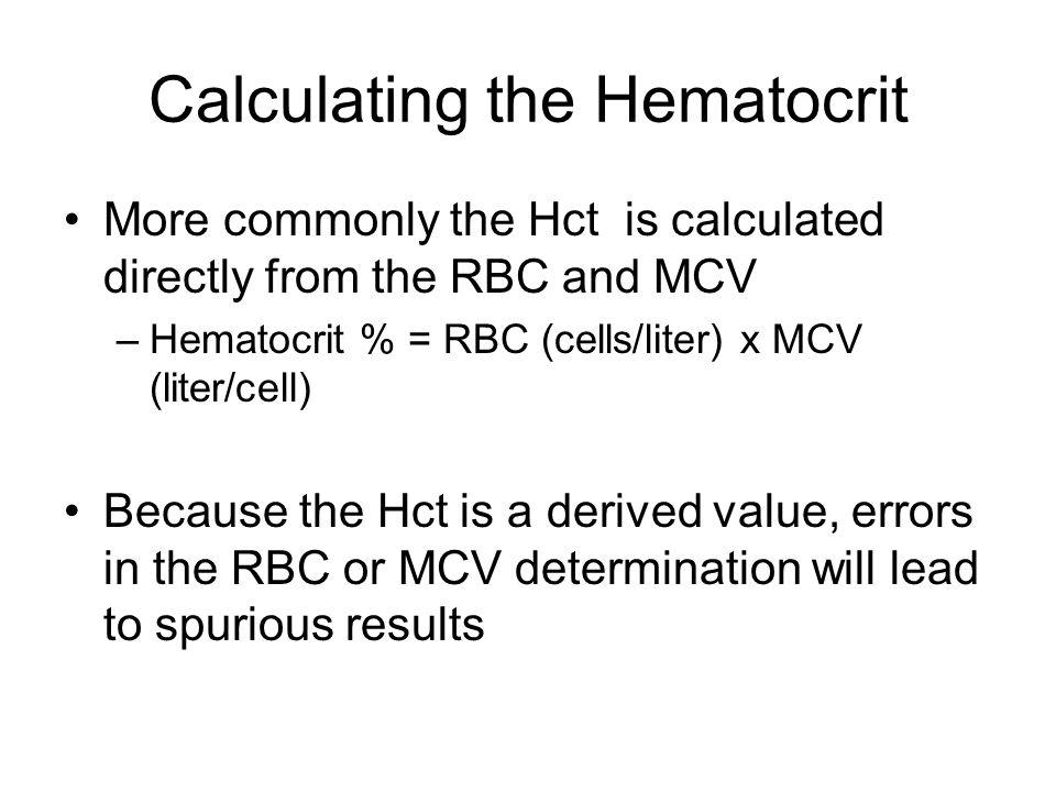 Calculating the Hematocrit