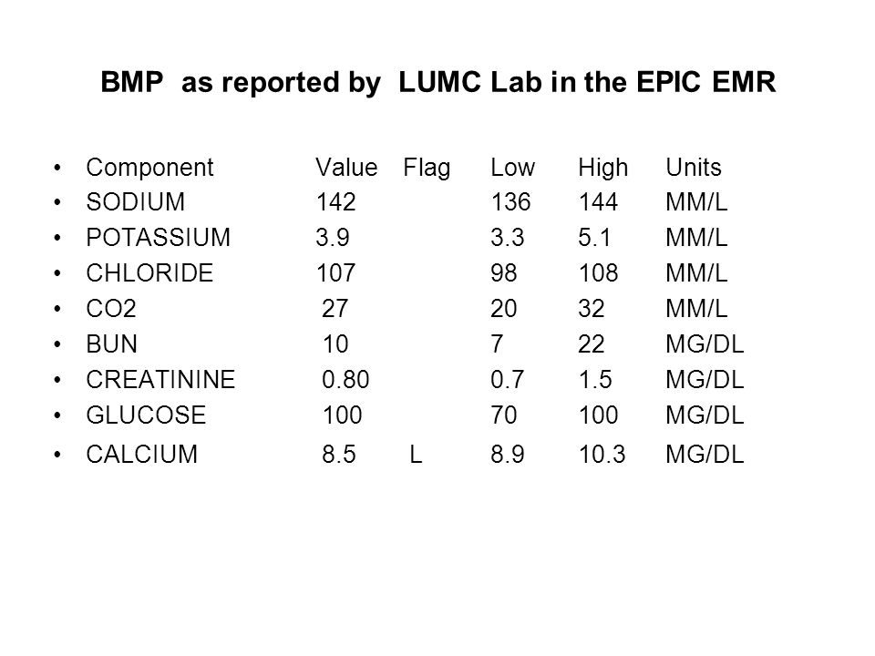 BMP as reported by LUMC Lab in the EPIC EMR