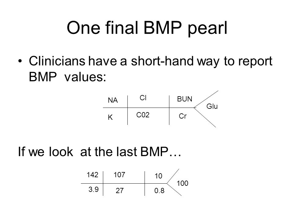 One final BMP pearl Clinicians have a short-hand way to report BMP values: If we look at the last BMP…