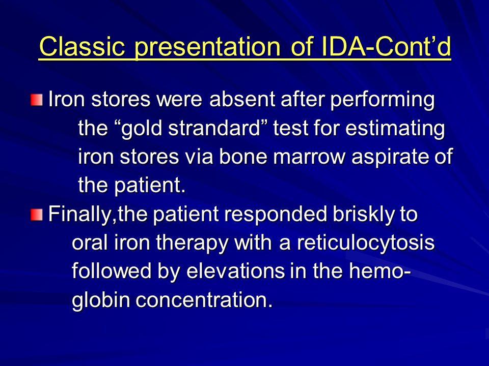 Classic presentation of IDA-Cont'd