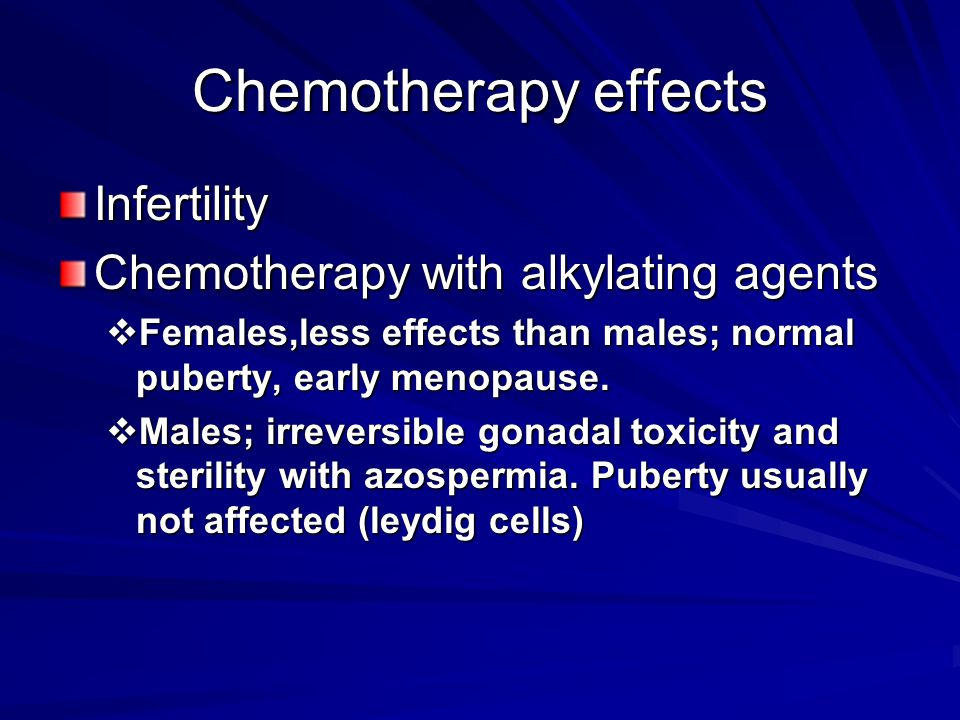 Chemotherapy effects Infertility Chemotherapy with alkylating agents