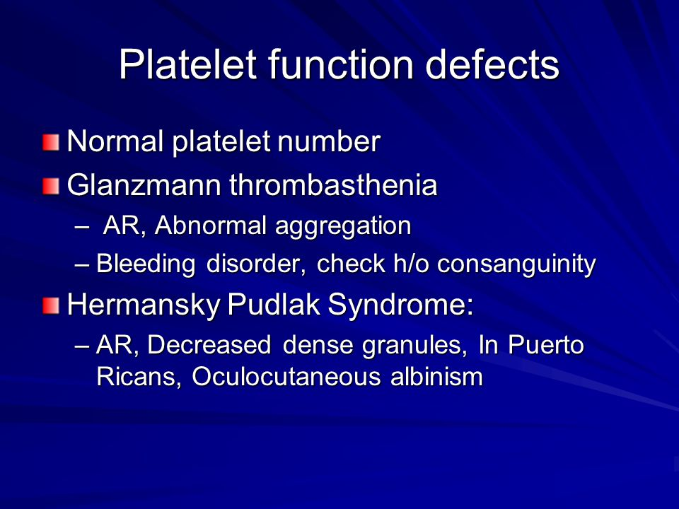 Platelet function defects