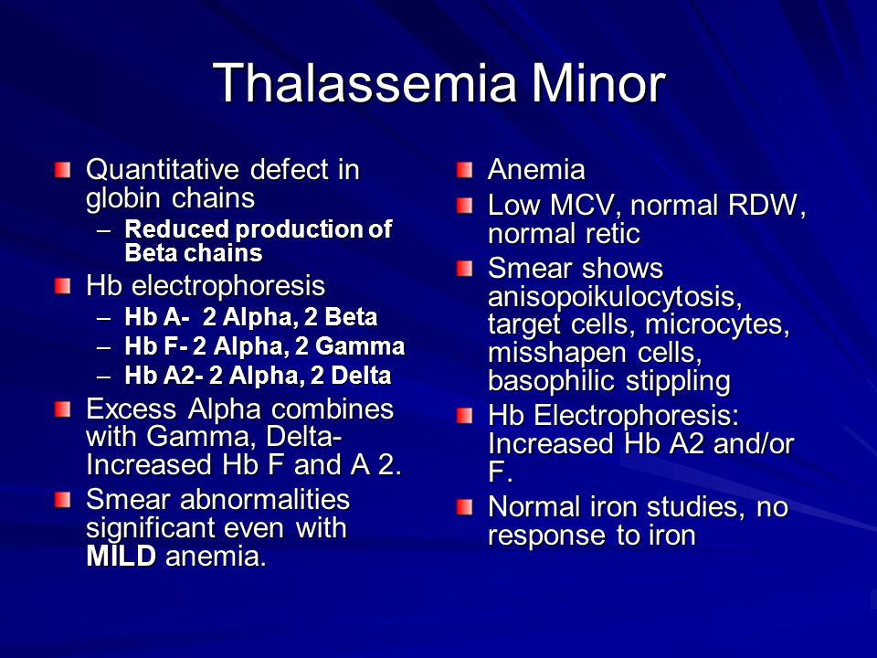Thalassemia Minor Quantitative defect in globin chains