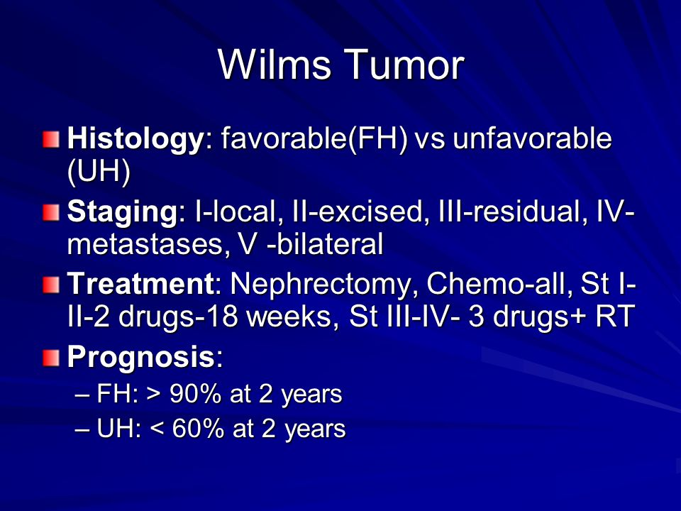 Wilms Tumor Histology: favorable(FH) vs unfavorable (UH)