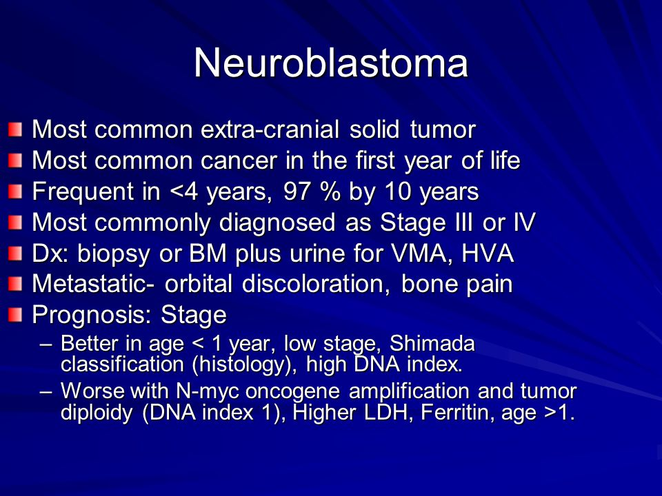 Neuroblastoma Most common extra-cranial solid tumor