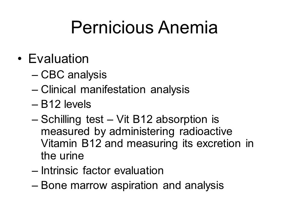 Pernicious Anemia Evaluation CBC analysis