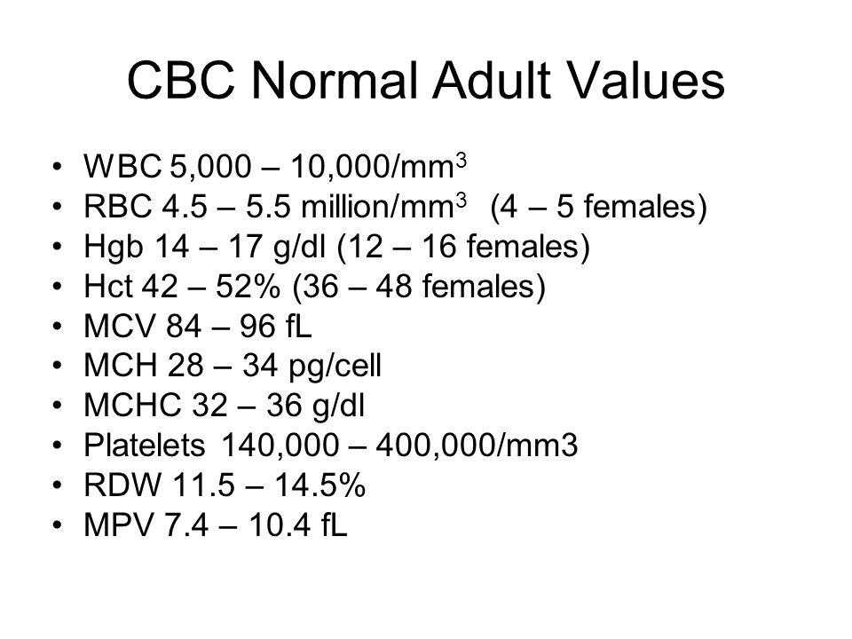 CBC Normal Adult Values