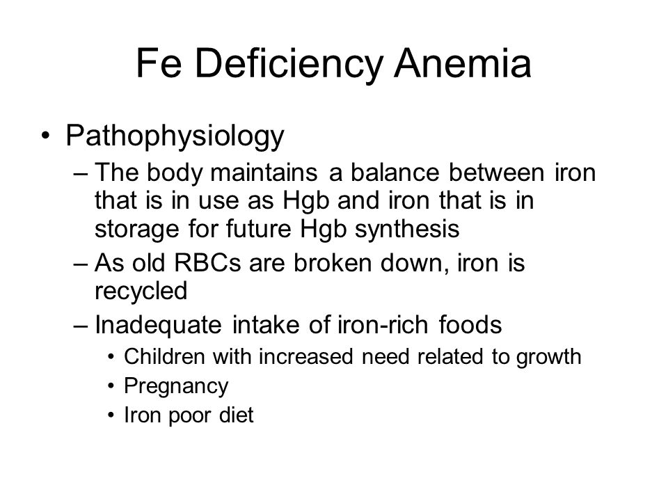 Fe Deficiency Anemia Pathophysiology