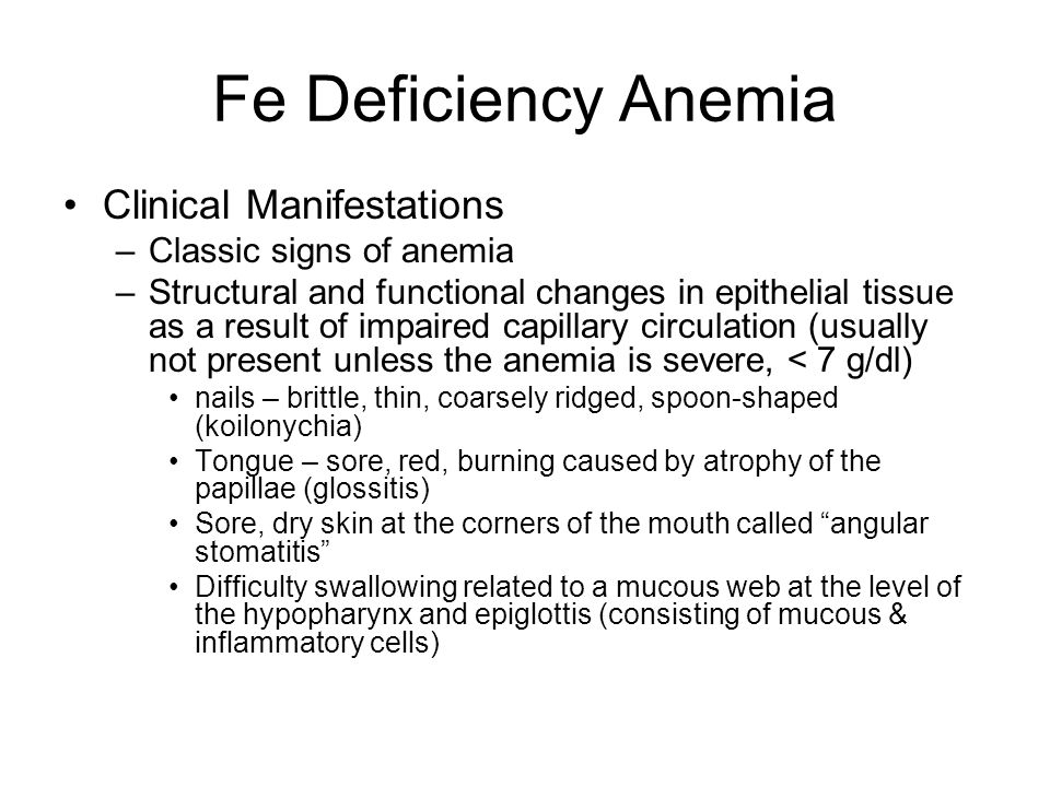 Fe Deficiency Anemia Clinical Manifestations Classic signs of anemia