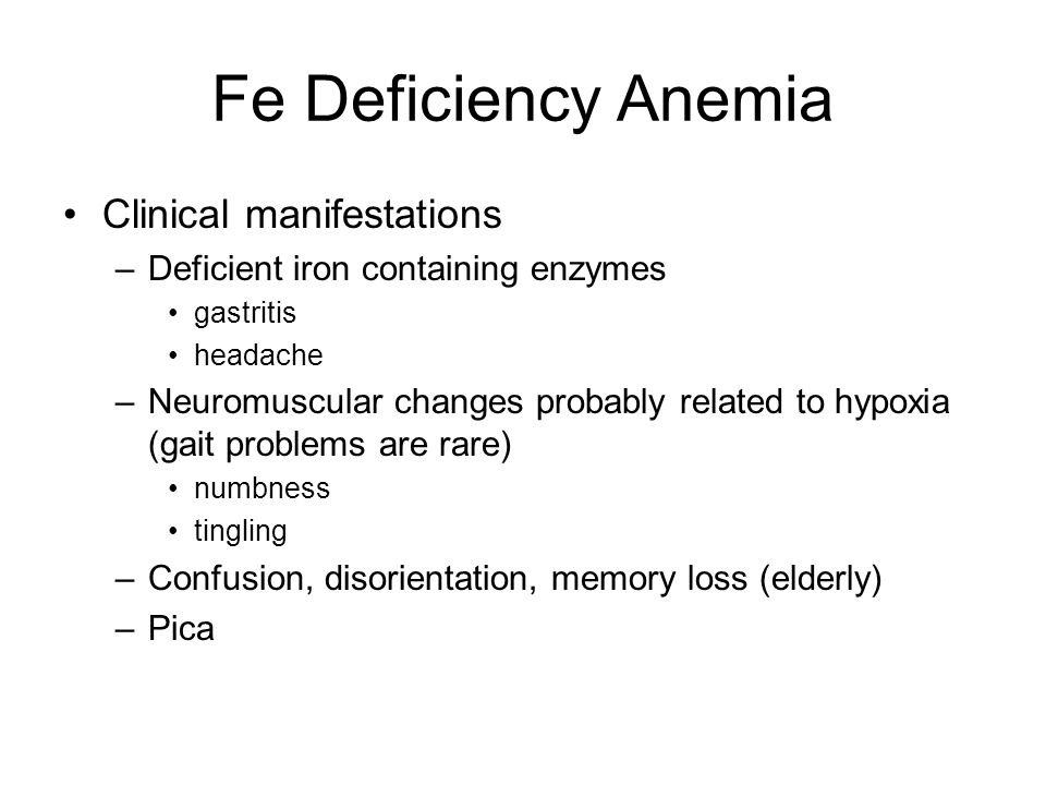 Fe Deficiency Anemia Clinical manifestations