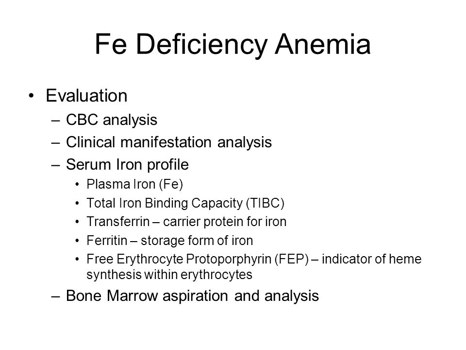 Fe Deficiency Anemia Evaluation CBC analysis