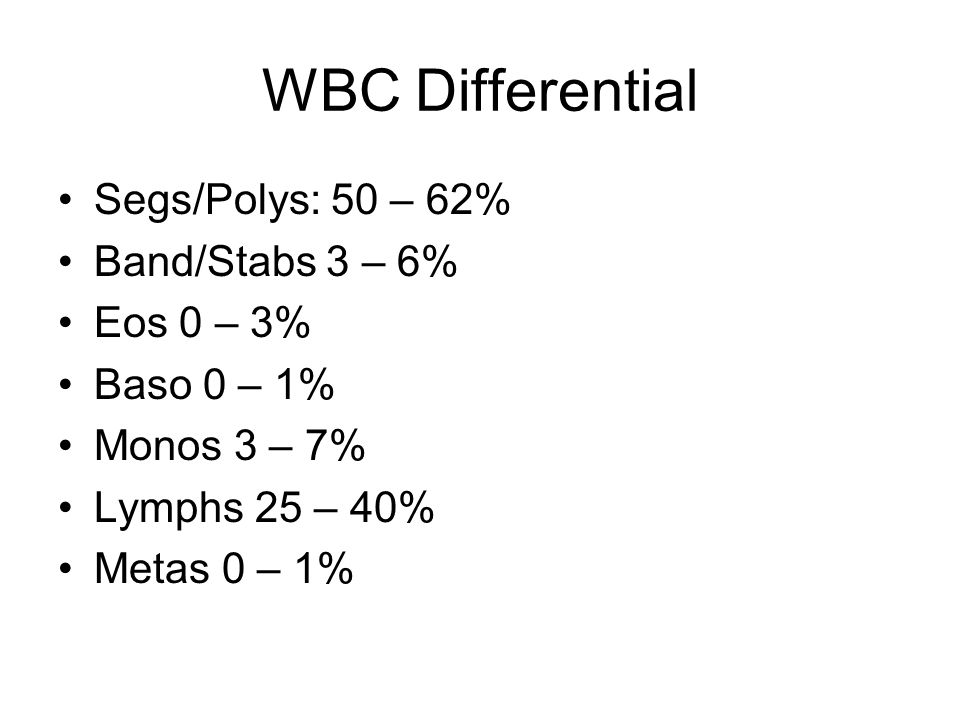 WBC Differential Segs/Polys: 50 – 62% Band/Stabs 3 – 6% Eos 0 – 3%