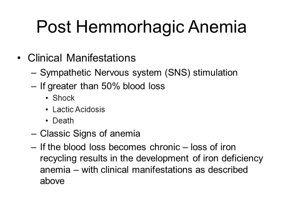 Post Hemmorhagic Anemia