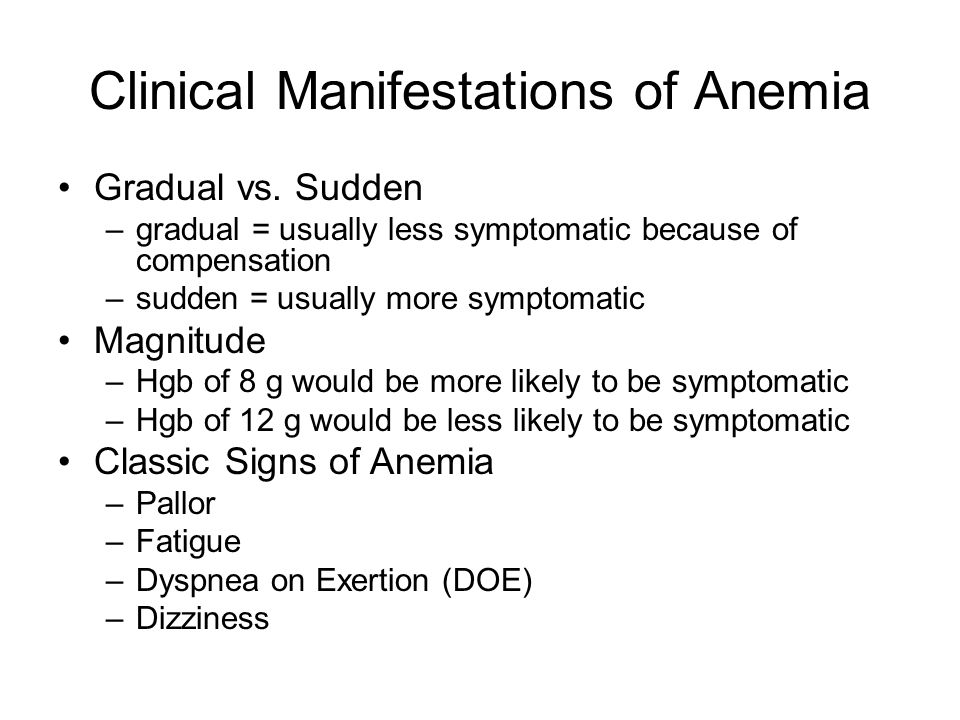 Clinical Manifestations of Anemia