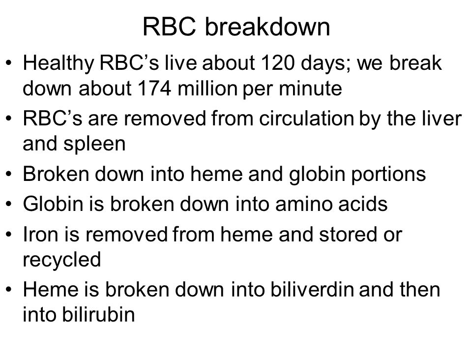 RBC breakdown Healthy RBC's live about 120 days; we break down about 174 million per minute.