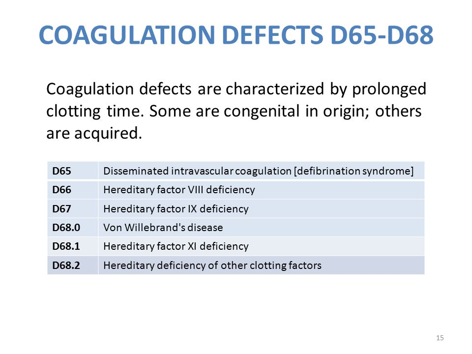 COAGULATION DEFECTS D65-D68
