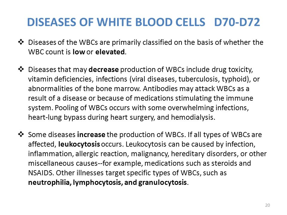 DISEASES OF WHITE BLOOD CELLS D70-D72