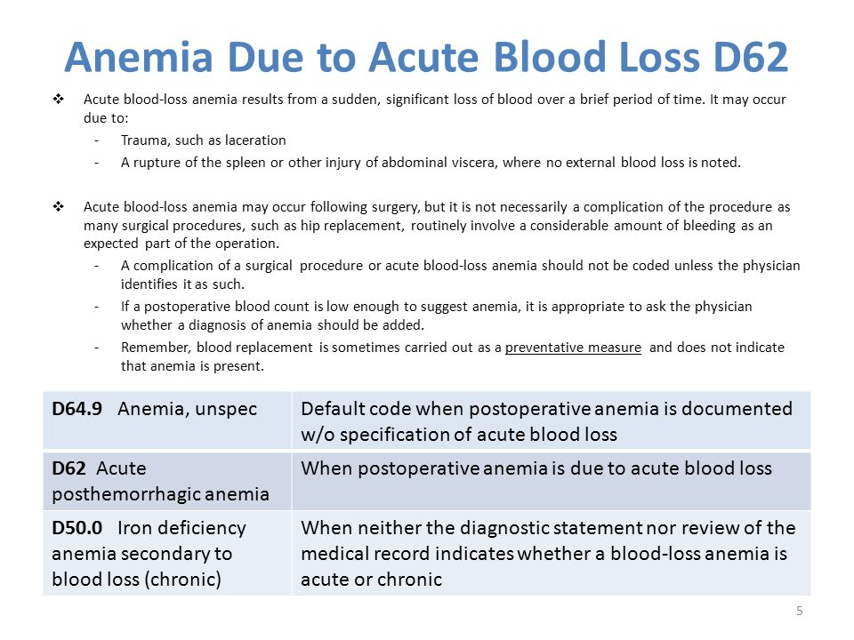 Anemia Due to Acute Blood Loss D62