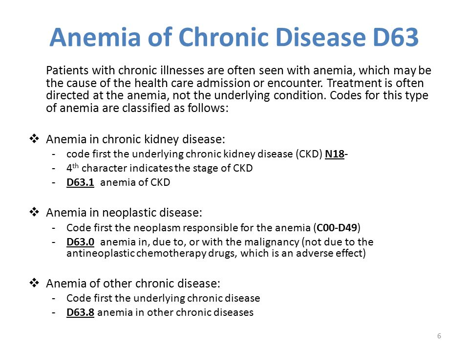Anemia of Chronic Disease D63