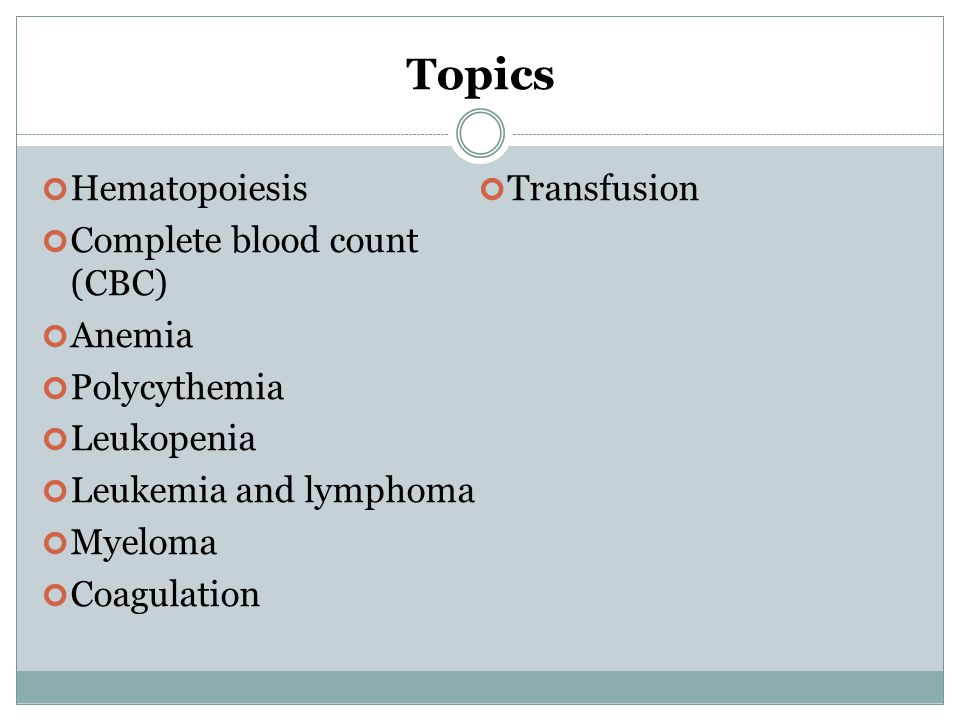 Topics Hematopoiesis Transfusion Complete blood count (CBC) Anemia