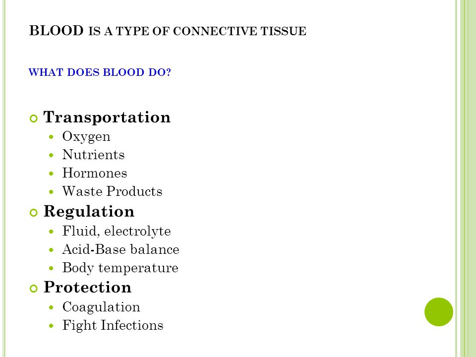 BLOOD IS A TYPE OF CONNECTIVE TISSUE WHAT DOES BLOOD DO