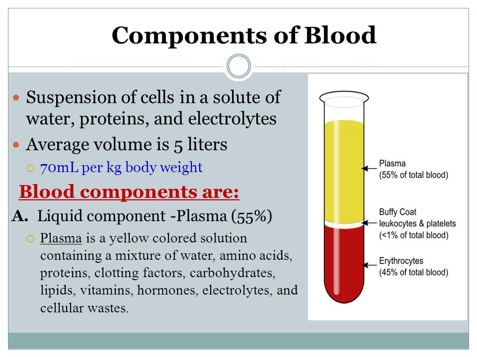 Components of Blood Blood components are: