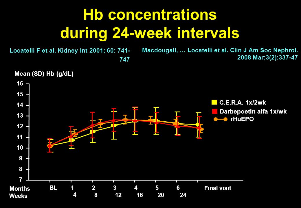 Hb concentrations during 24-week intervals