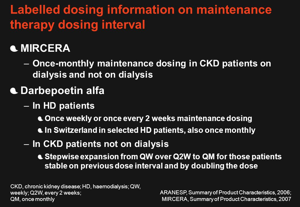 Labelled dosing information on maintenance therapy dosing interval