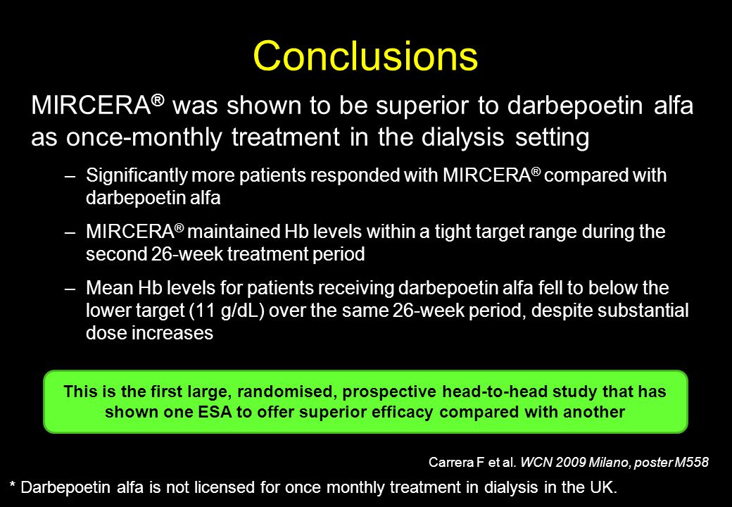 Conclusions MIRCERA® was shown to be superior to darbepoetin alfa as once-monthly treatment in the dialysis setting.
