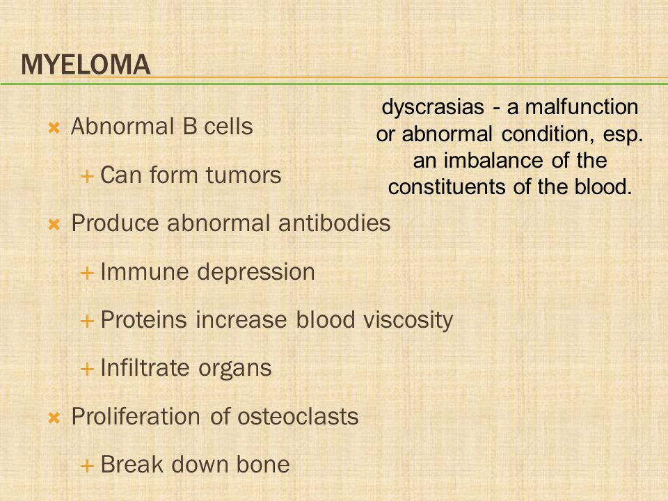 Myeloma Abnormal B cells Can form tumors Produce abnormal antibodies