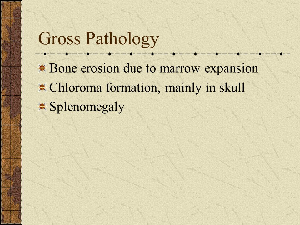 Gross Pathology Bone erosion due to marrow expansion