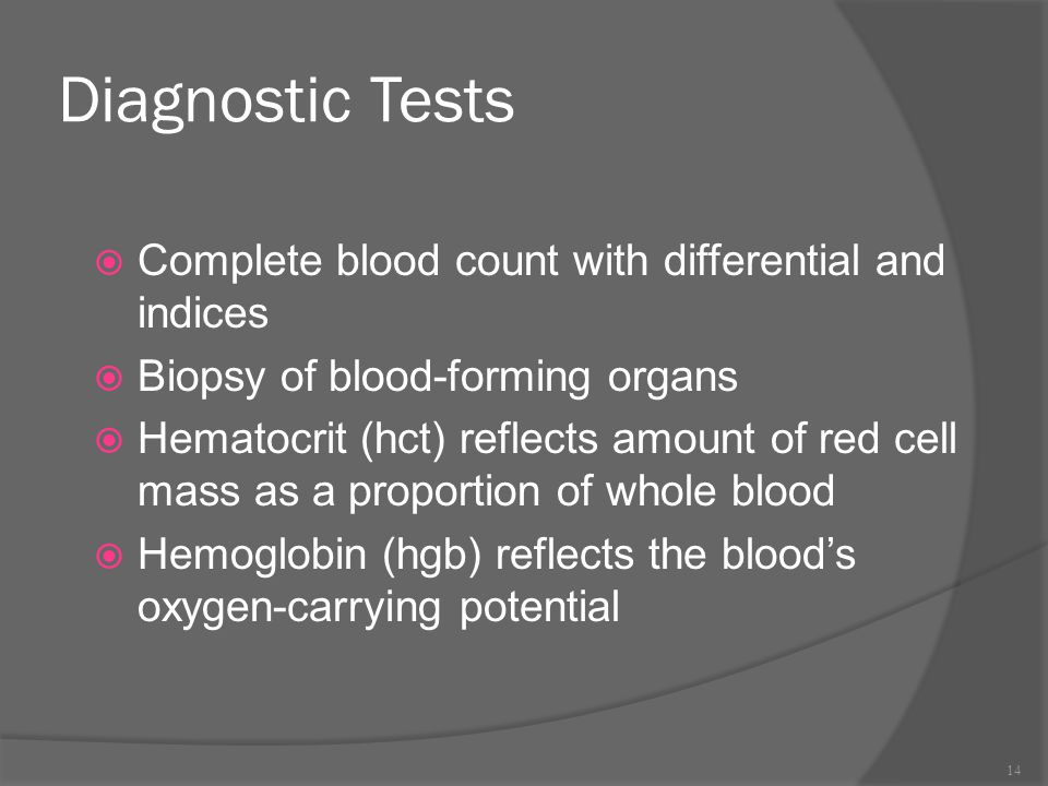 Diagnostic Tests Complete blood count with differential and indices