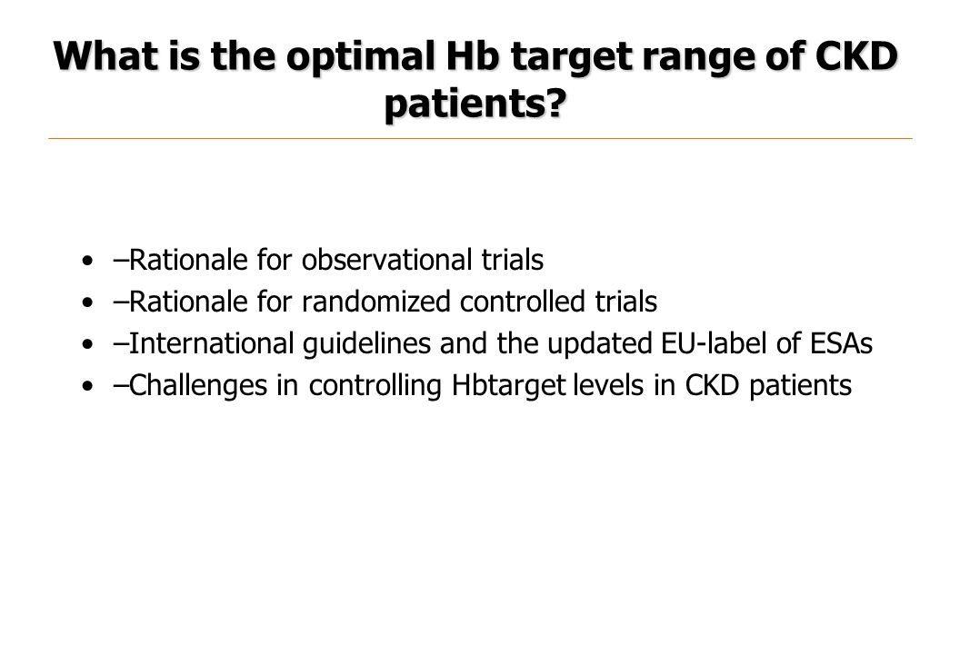 What is the optimal Hb target range of CKD patients