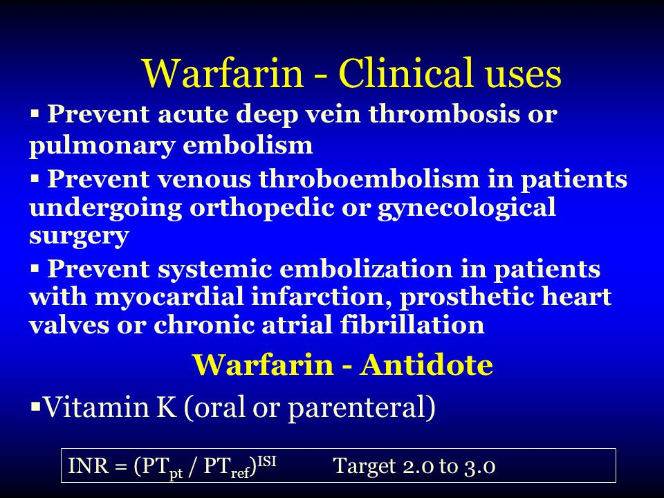 Warfarin - Clinical uses
