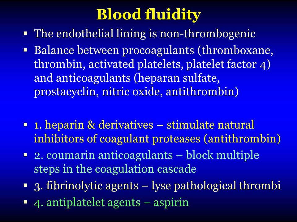 Blood fluidity The endothelial lining is non-thrombogenic