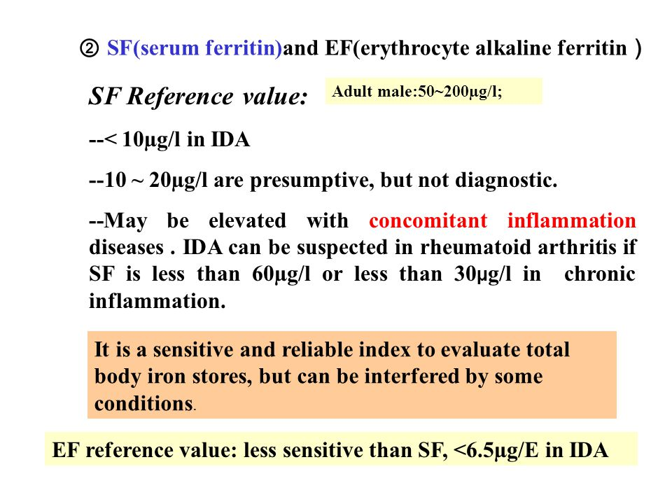 ② SF(serum ferritin)and EF(erythrocyte alkaline ferritin)