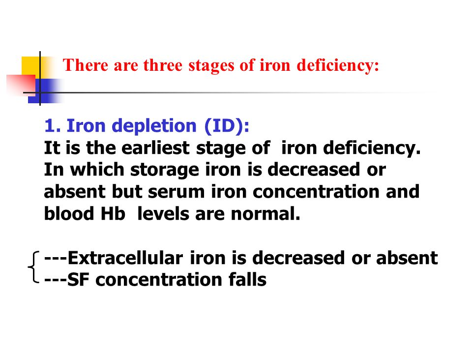There are three stages of iron deficiency: