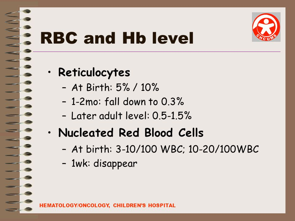 RBC and Hb level Reticulocytes Nucleated Red Blood Cells